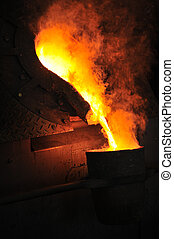 Foundry - molten metal poured from ladle for casting