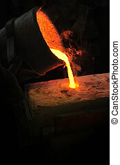 Foundry - molten metal poured from ladle into mould - lost wax casting