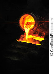 Foundry - molten metal poured from ladle into mould -...