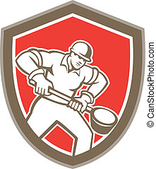 Illustration of a foundry worker holding a ladle facing front set inside shield shape done in retro style.