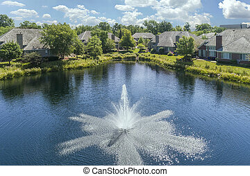 Fountain and pond townhouse community