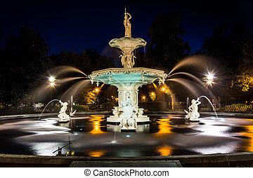 Fountain at Forsyth Park at night, in Savannah, Georgia.