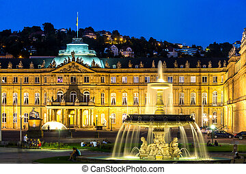 Stuttgart city center, Germany at dusk - Fountain at neues...