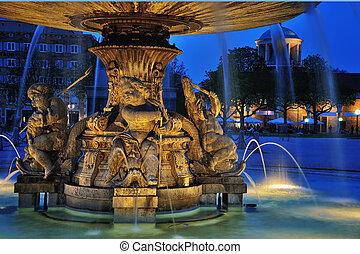 Fountain at Neues Schloss square, Stuttgart