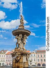 Fountain at Premysl Otakar II. square in Ceske Budejovice, Czech Republic