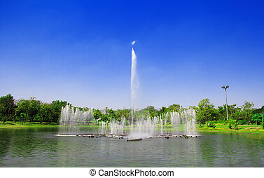 Fountain at the park.