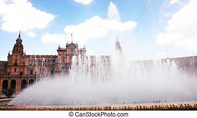 Fountain at the Plaza de Espana complex in Seville, Spain -...