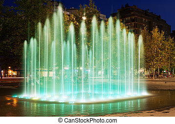 fountain at town square in Sant Adria de Besos - fountain at...
