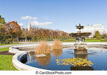 Fountain - Beautiful fountain in the park in Wien. Autumn,...
