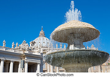 Fountain before St Peters Basilica in Vatican