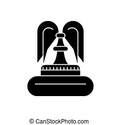 Fountain black icon concept. Fountain  vector sign, symbol, illustration.