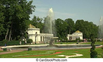 Fountain Bowl. Peterhof. Fountains. Petrodvorets. 4K. Shot...