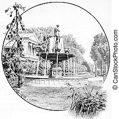 Fountain champs Elysees, vintage engraving.
