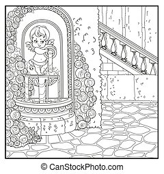 Fountain Cupid with a jug rose overlaid in a secluded corner...