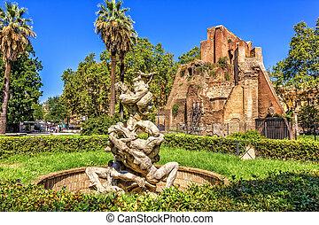Fountain del Giardino in Piazza Vittorio in the urban park...