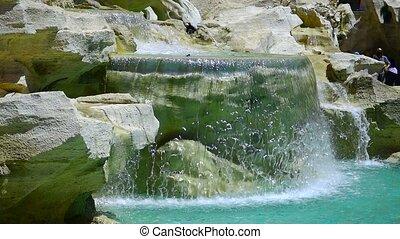Fountain di Trevi in Rome, Italy.  slowmotion