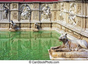 Fountain Fonte Gaia on Piazza del Campo Square in Siena