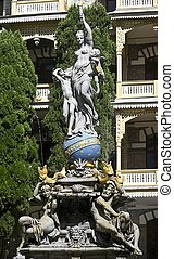 "Fountain ""Goddess Night"" in the park of Gurzuf, Crimea, Ukraine. Fountain was built in 1889"