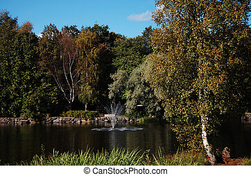 Fountain gushing sparkling water