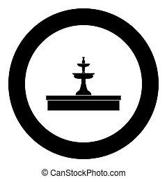 Fountain icon black color in circle