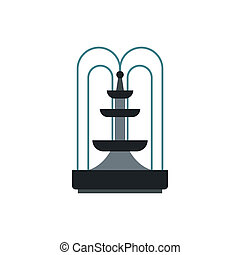 Fountain icon in flat style