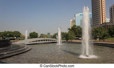 Fountain in Abu Dhabi - Fountain at the corniche park in the...