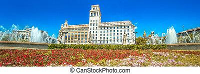 Fountain in Barcelona, Spain - Fountain of Catalonia square ...