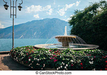 Fountain in beautiful village Limone sul Garda, Italy....