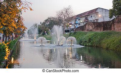 fountain in Chiang Mai, Thailand