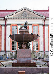 Fountain in front of the library