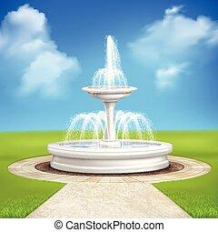 Fountain In Garden Vintage Composition