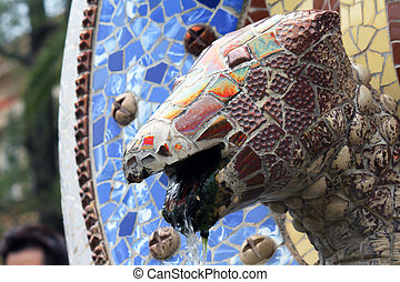 Fountain in Gaudi's Park Guell, Barcelona, Spain
