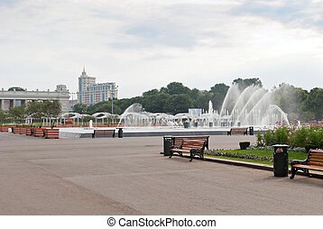 Fountain in Gorky Park. Moscow