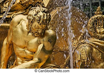 Fountain in park of Versailles - Fragment of fountain in...