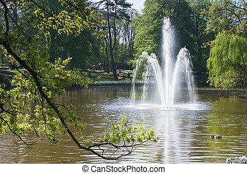 Fountain in pond in the park