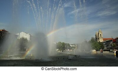 Fountain in Republic Square - Rainbow in the middle of...