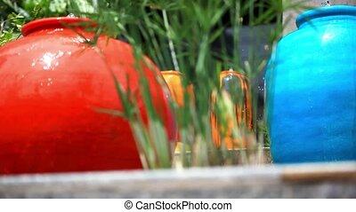 Fountain in Stone colorful jars. HD. 1920x1080 - Fountain in...