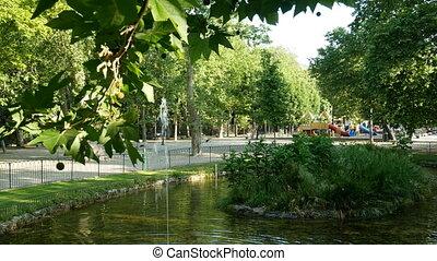 Fountain in the Acquasola park in Genoa, Italy