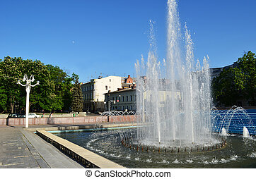 fountain in the city Kharkiv in spring