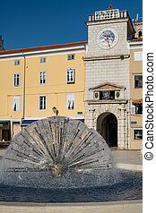 Fountain in the city of Cres on a sunny day in spring