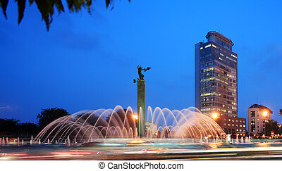 Fountain in the city - Night view of a fountain in the city