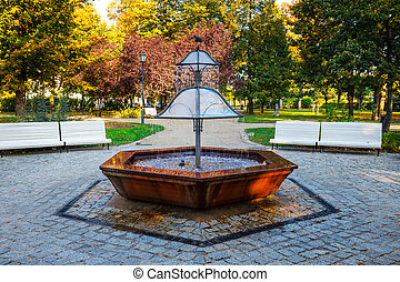 Fountain in the green park, Sopot, Poland