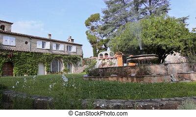 Fountain in the Italian style villa - Fountain in the...