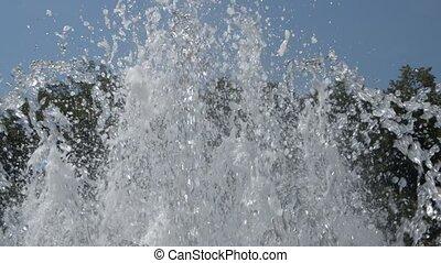 Fountain in Vrnjacka Spa, Serbia - Hand-held shot of water...