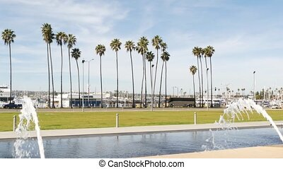 Fountain in waterfront city park near San Diego county civic...