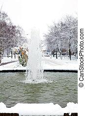 fountain in winter setting