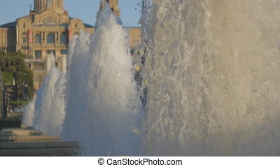 Fountain jets at Montjuic