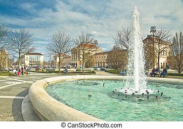 Fountain Mandusevac on central square, Zagreb, Croatia