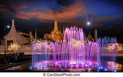 Fountain night light of landmark of Sanam Luang and grand palace, Bangkok, Thailand