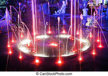 Fountain night lights.